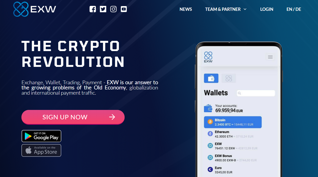 EXW Wallet Home